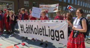 Demonstration mot Vattenfalls försäljning vid riksdagsdebatten.