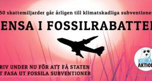 Svenska skattebetalare subventionerar fossilindustrin med ca 50 miljarder kronor per år. Nu startar Klimataktions kampanj för att stoppa utbetalningarna.