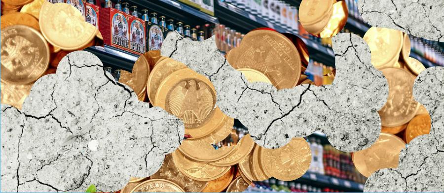 Mynt, livsmedelsaffär, uttorkad jord