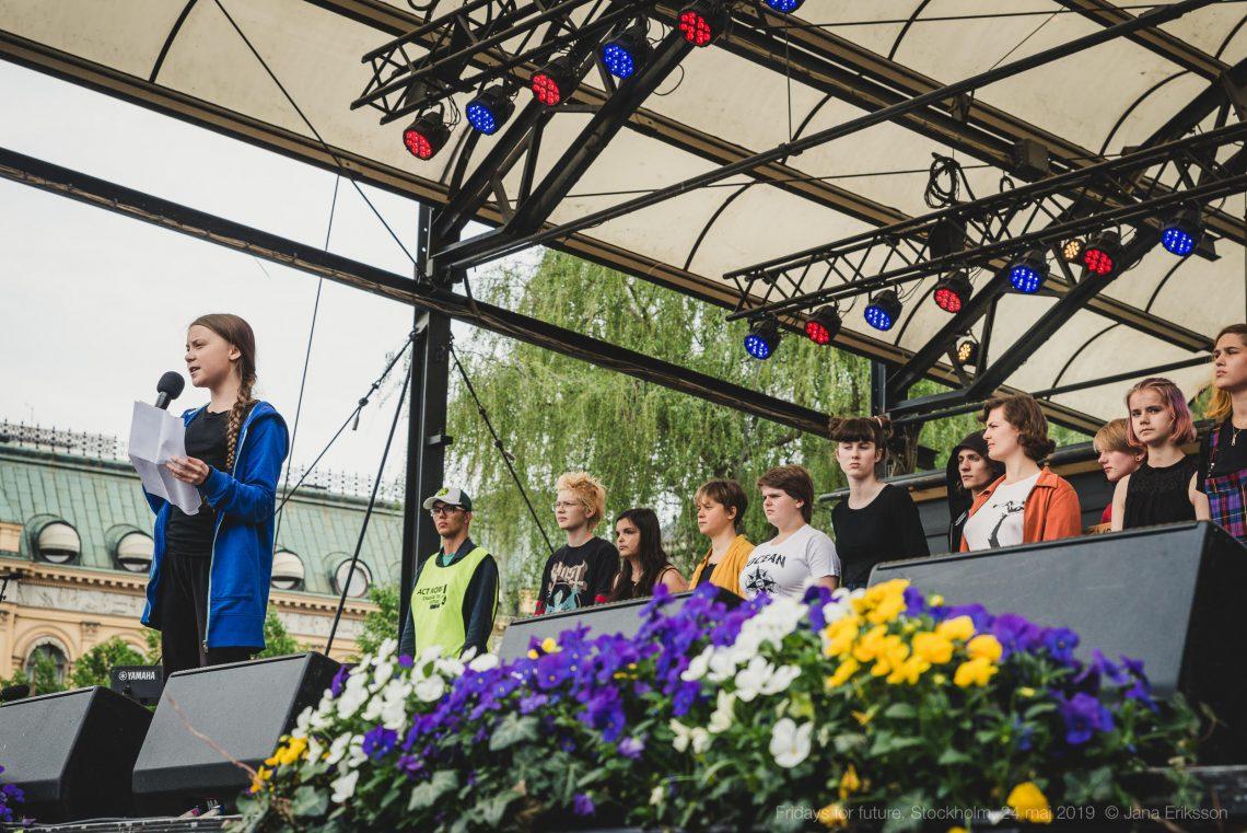 Greta Thunberg talar på klimatmanifestationen i Kungsträdgården 24 maj, foto: Jana Eriksson